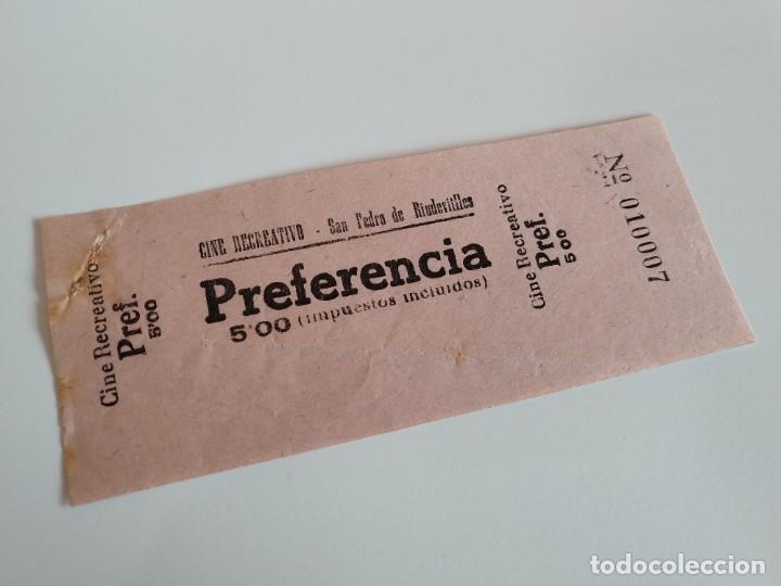 ENTRADA CINE RECREATIVO - SAN PEDRO DE RIUDEVITLLES ( BARCELONA) - AÑOS 40 ...L3594 (Cine - Entradas)