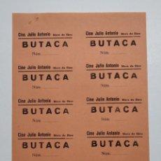 Cine: 10 ENTRADAS CINE JULIO ANTONIO - MORA DE EBRO (TARRAGONA) - AÑOS 40, HOJA SIN CORTAR...L3606. Lote 248213360