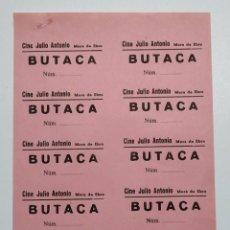 Cinéma: 10 ENTRADAS CINE JULIO ANTONIO - MORA DE EBRO (TARRAGONA) - AÑOS 40, HOJA SIN CORTAR...L3608. Lote 248213980