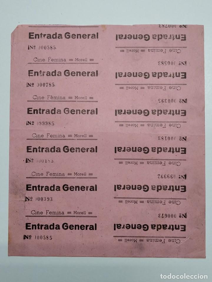 10 ENTRADAS CINE FEMINA - MORELL (TARRAGONA) - AÑOS 40, HOJA SIN CORTAR...L3617 (Cine - Entradas)