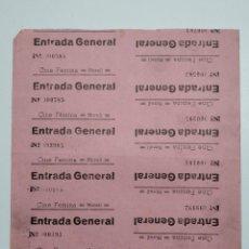 Cine: 10 ENTRADAS CINE FEMINA - MORELL (TARRAGONA) - AÑOS 40, HOJA SIN CORTAR...L3617. Lote 248221660