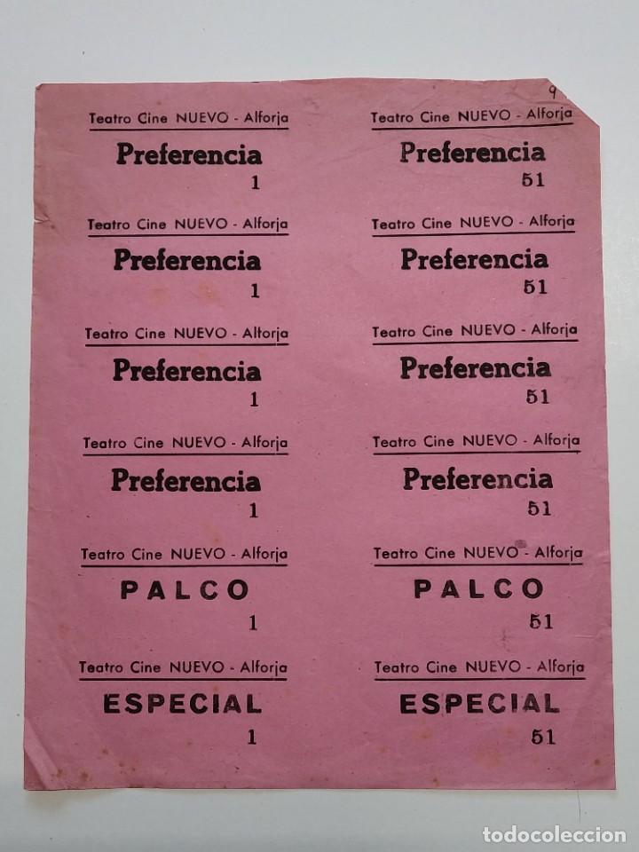 12 ENTRADAS TEATRO CINE NUEVO - ALFORJA (TARRAGONA) - AÑOS 40, HOJA SIN CORTAR...L3618 (Cine - Entradas)