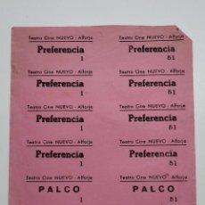 Cine: 12 ENTRADAS TEATRO CINE NUEVO - ALFORJA (TARRAGONA) - AÑOS 40, HOJA SIN CORTAR...L3618. Lote 248222250
