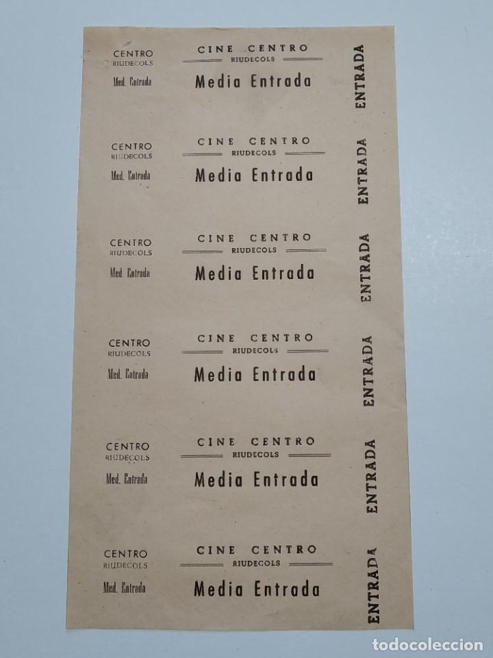 6 ENTRADAS CINE CENTRO - RIUDECOLS (TARRAGONA) - AÑOS 40, HOJA SIN CORTAR...L3619 (Cine - Entradas)
