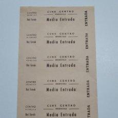 Cine: 6 ENTRADAS CINE CENTRO - RIUDECOLS (TARRAGONA) - AÑOS 40, HOJA SIN CORTAR...L3619. Lote 248222725