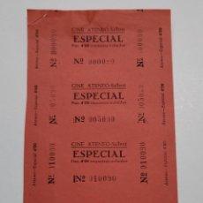 Cine: 4 ENTRADAS CINE ATENEO - SALLENT (BARCELONA) - AÑOS 40, HOJA SIN CORTAR...L3620. Lote 248223615