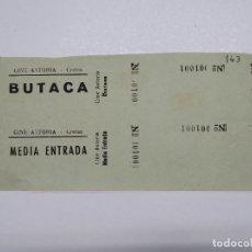 Cine: 2 ENTRADAS CINE ASTORIA - CRETAS (TERUEL) - AÑOS 40, HOJA SIN CORTAR...L3621. Lote 248224105