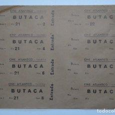 Cinéma: 8 ENTRADAS CINE ATLANTICO - GANDESA (TARRAGONA) - AÑOS 40, HOJA SIN CORTAR...L3624. Lote 248225675
