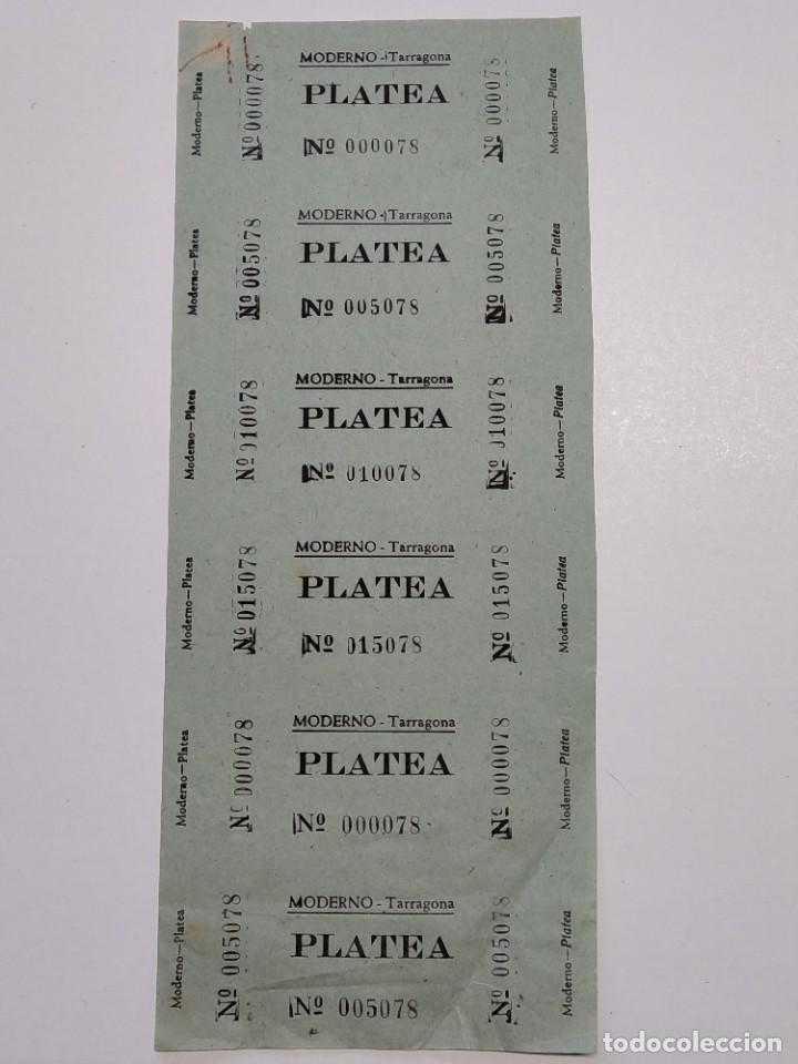6 ENTRADAS CINE MODERNO - TARRAGONA - AÑOS 40, HOJA SIN CORTAR...L3628 (Cine - Entradas)
