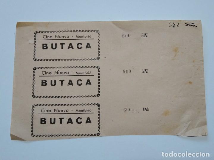 3 ENTRADAS CINE NUEVO - MONTBRIÓ (TARRAGONA) - AÑOS 40, HOJA SIN CORTAR...L3629 (Cine - Entradas)
