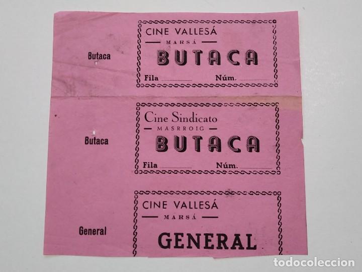 3 ENTRADAS CINE VALLESÁ ( MARSÁ ) - CINE SINDICATO ( MASRROIG ) - AÑOS 40, HOJA SIN CORTAR...L3630 (Cine - Entradas)