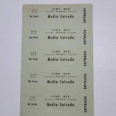 Cine: 6 ENTRADAS CINE REX - PRATDIP (TARRAGONA) - AÑOS 40, HOJA SIN CORTAR...L3633. Lote 248420475