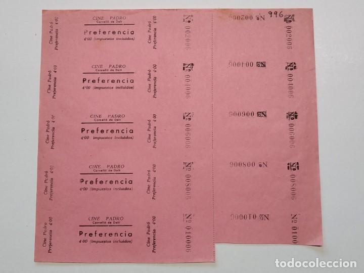 5 ENTRADAS CINE PADRO - CORELLÁ DE DALT (BARCELONA) - AÑOS 40, HOJA SIN CORTAR...L3635 (Cine - Entradas)