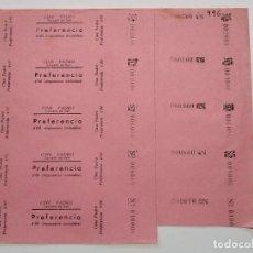 Cine: 5 ENTRADAS CINE PADRO - CORELLÁ DE DALT (BARCELONA) - AÑOS 40, HOJA SIN CORTAR...L3635. Lote 248428910