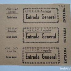 Cine: 3 ENTRADAS CINE LLAO - AMPOLLA (TARRAGONA) - AÑOS 40, HOJA SIN CORTAR...L3638. Lote 248431320