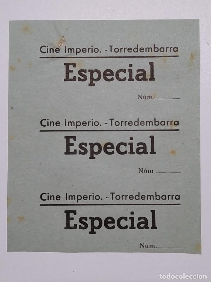 3 ENTRADAS CINE IMPERIO - TORREDEMBARRA (TARRAGONA) - AÑOS 40, HOJA SIN CORTAR...L3641 (Cine - Entradas)