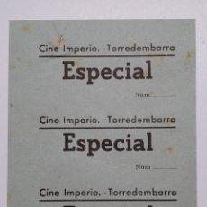 Cine: 3 ENTRADAS CINE IMPERIO - TORREDEMBARRA (TARRAGONA) - AÑOS 40, HOJA SIN CORTAR...L3641. Lote 248432685