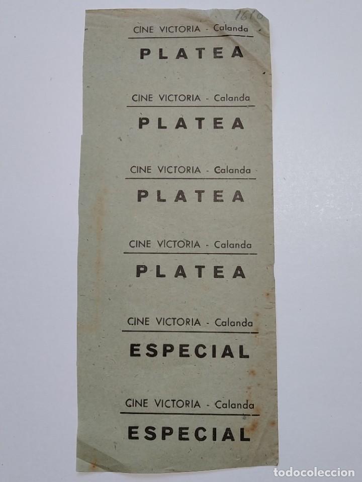 6 ENTRADAS CINE VICTORIA - CALANDA (TERUEL) - AÑOS 40, HOJA SIN CORTAR...L3642 (Cine - Entradas)