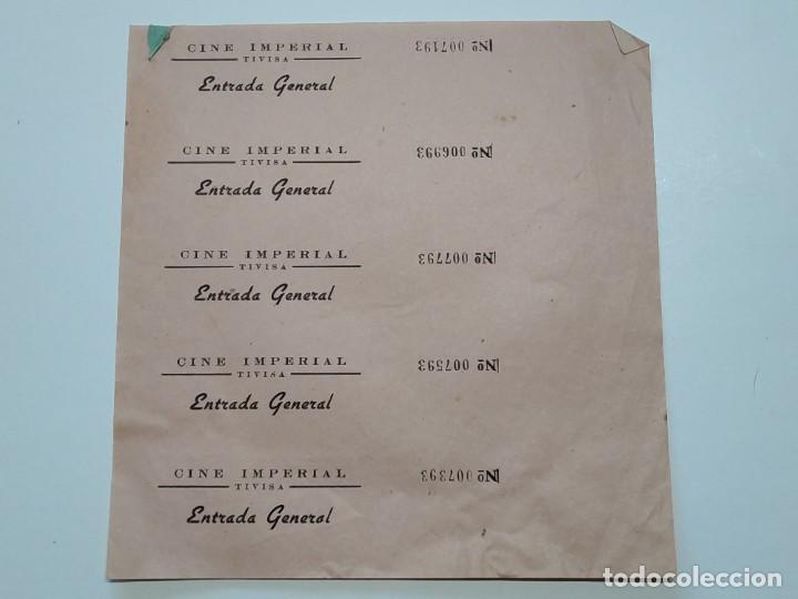 5 ENTRADAS CINE IMPERIAL - TIVISA (TARRAGONA) - AÑOS 40, HOJA SIN CORTAR...L3643 (Cine - Entradas)