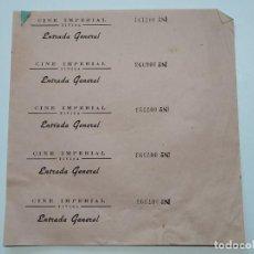 Cine: 5 ENTRADAS CINE IMPERIAL - TIVISA (TARRAGONA) - AÑOS 40, HOJA SIN CORTAR...L3643. Lote 248433755