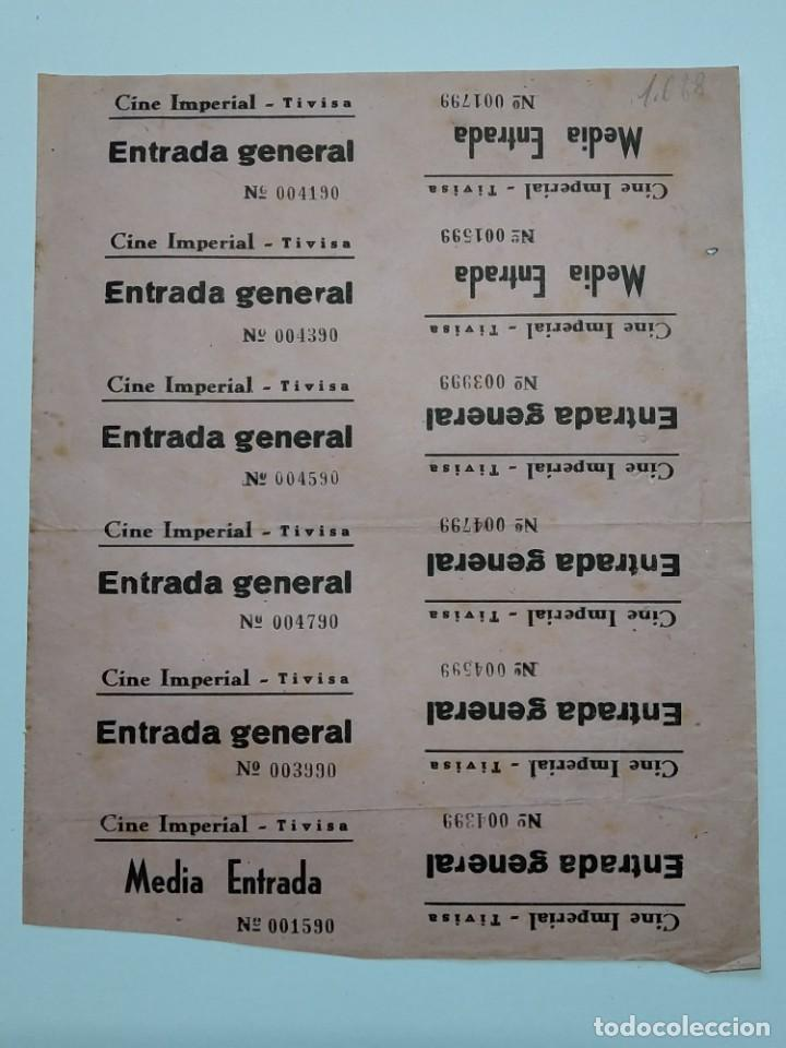 12 ENTRADAS CINE IMPERIAL - TIVISA (TARRAGONA) - AÑOS 40, HOJA SIN CORTAR...L3644 (Cine - Entradas)