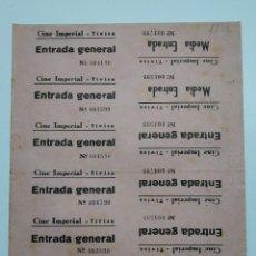 Cine: 12 ENTRADAS CINE IMPERIAL - TIVISA (TARRAGONA) - AÑOS 40, HOJA SIN CORTAR...L3644. Lote 248434085