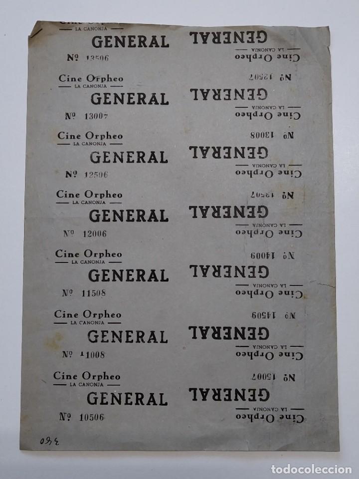 14 ENTRADAS CINE ORPHEO - LA CANONJA (TARRAGONA) - AÑOS 40, HOJA SIN CORTAR...L3645 (Cine - Entradas)