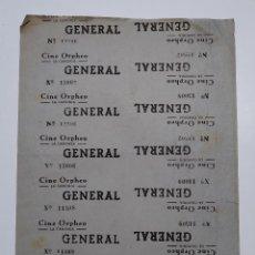 Cine: 14 ENTRADAS CINE ORPHEO - LA CANONJA (TARRAGONA) - AÑOS 40, HOJA SIN CORTAR...L3645. Lote 248434360