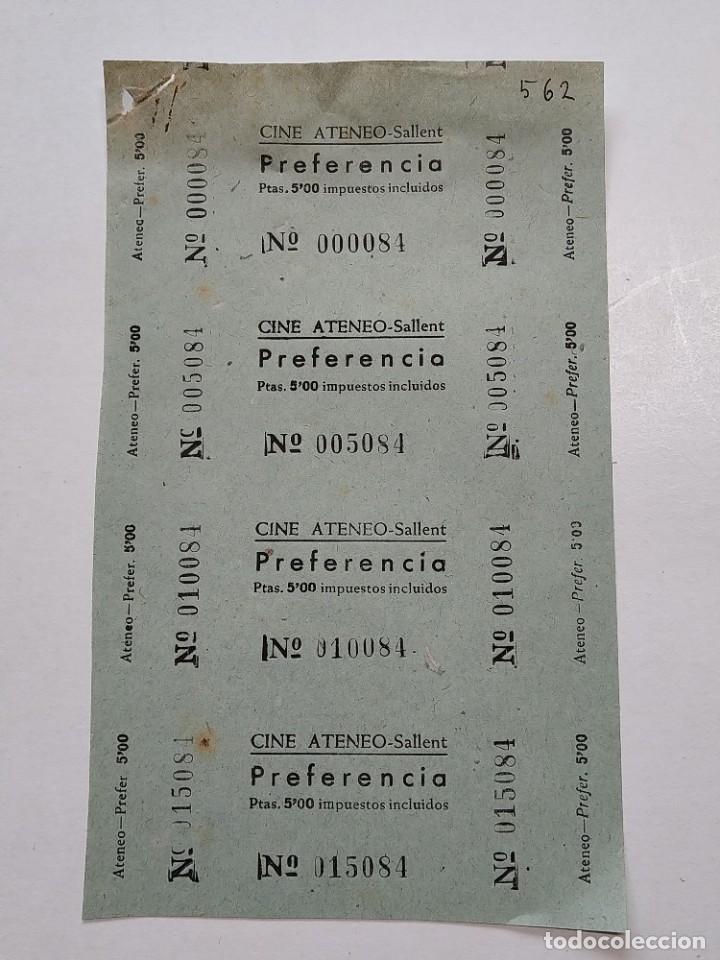4 ENTRADAS CINE ATENEO - SALLENT (BARCELONA) - AÑOS 40, HOJA SIN CORTAR...L3670 (Cine - Entradas)