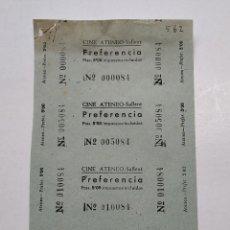 Cine: 4 ENTRADAS CINE ATENEO - SALLENT (BARCELONA) - AÑOS 40, HOJA SIN CORTAR...L3670. Lote 248963860