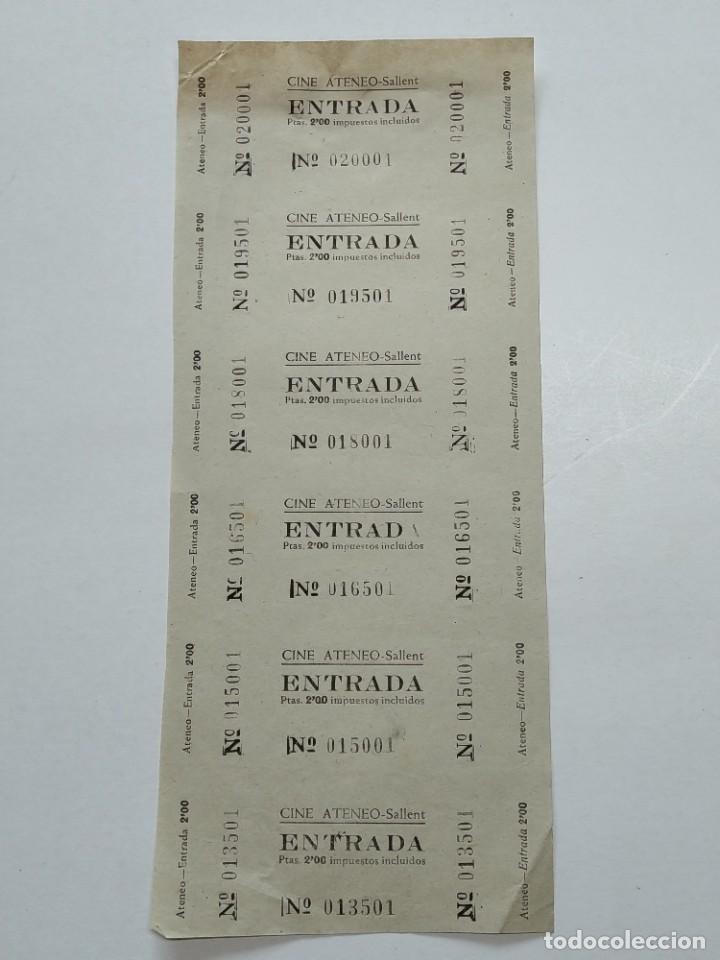 6 ENTRADAS CINE ATENEO - SALLENT (BARCELONA) - AÑOS 40, HOJA SIN CORTAR...L3671 (Cine - Entradas)