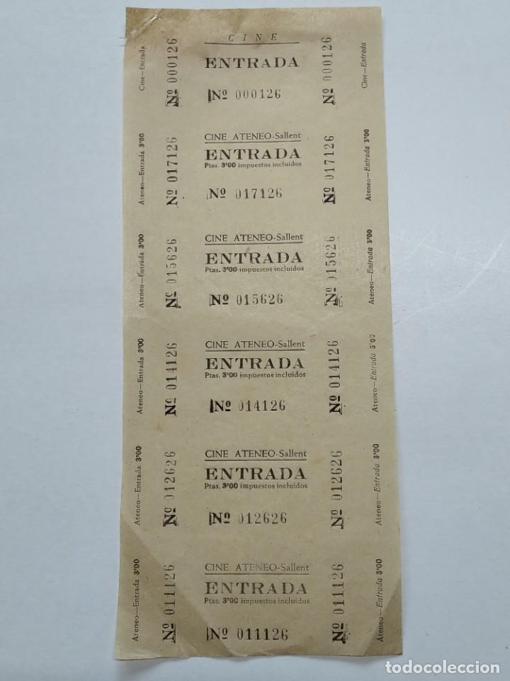6 ENTRADAS CINE ATENEO - SALLENT (BARCELONA) - AÑOS 40, HOJA SIN CORTAR...L3672 (Cine - Entradas)