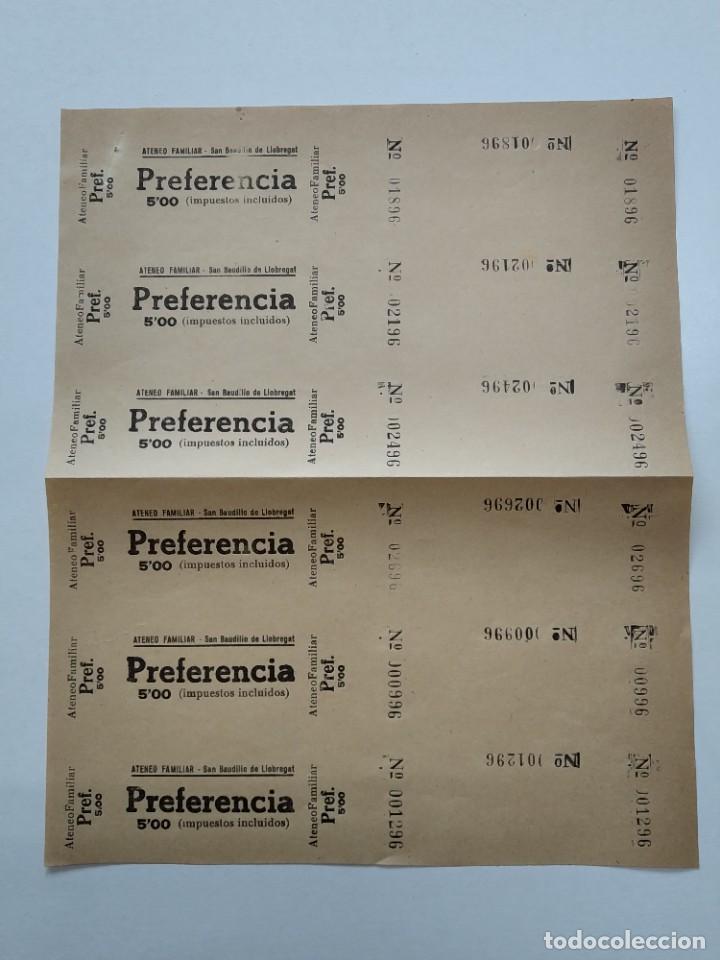 6 ENTRADAS CINE ATENEO FAMILIAR - SAN BAUDILIO DE LLOBREGAT - AÑOS 40, HOJA SIN CORTAR...L3673 (Cine - Entradas)