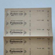 Cine: 6 ENTRADAS CINE ATENEO FAMILIAR - SAN BAUDILIO DE LLOBREGAT - AÑOS 40, HOJA SIN CORTAR...L3673. Lote 248967000