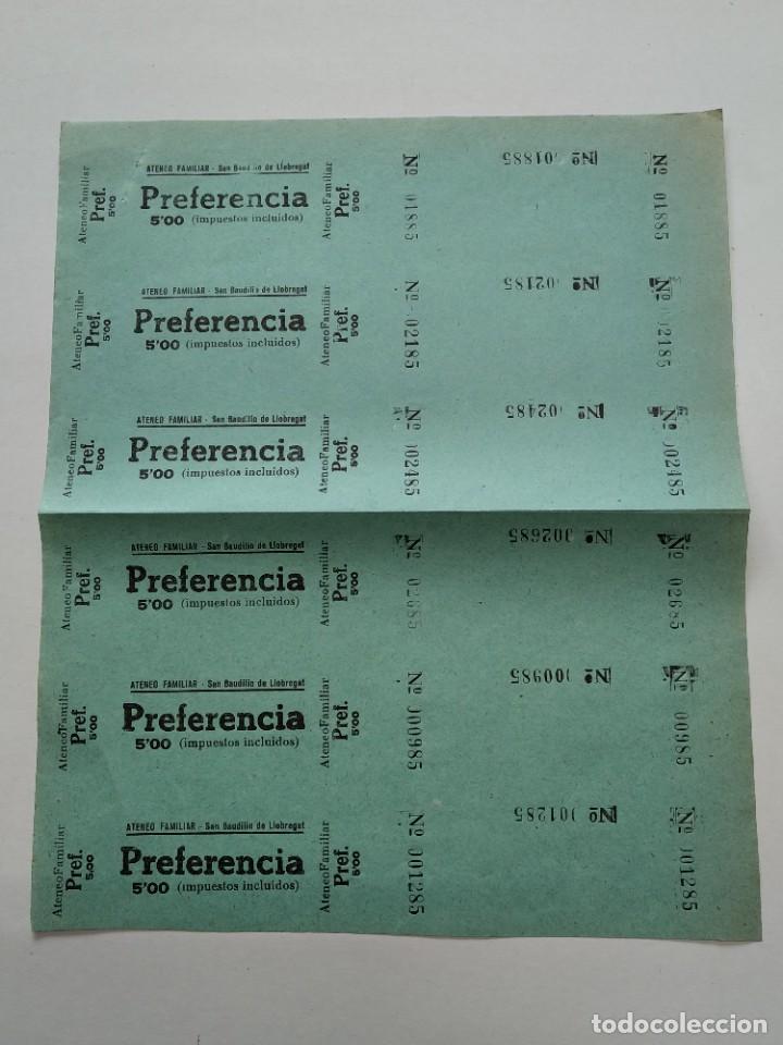 6 ENTRADAS CINE ATENEO FAMILIAR - SAN BAUDILIO DE LLOBREGAT - AÑOS 40, HOJA SIN CORTAR...L3674 (Cine - Entradas)