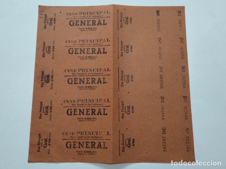 5 ENTRADAS CINE PRINCIPAL - SAN BAUDILIO DE LLOBREGAT - AÑOS 40, HOJA SIN CORTAR...L3675 (Cine - Entradas)
