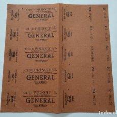 Cine: 5 ENTRADAS CINE PRINCIPAL - SAN BAUDILIO DE LLOBREGAT - AÑOS 40, HOJA SIN CORTAR...L3675. Lote 248968590