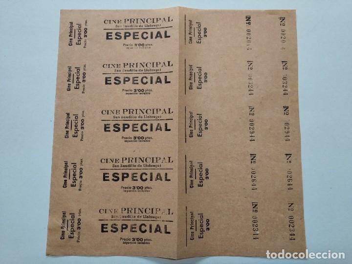 5 ENTRADAS CINE PRINCIPAL - SAN BAUDILIO DE LLOBREGAT - AÑOS 40, HOJA SIN CORTAR...L3676 (Cine - Entradas)