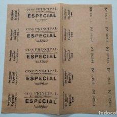 Cine: 5 ENTRADAS CINE PRINCIPAL - SAN BAUDILIO DE LLOBREGAT - AÑOS 40, HOJA SIN CORTAR...L3676. Lote 248969705