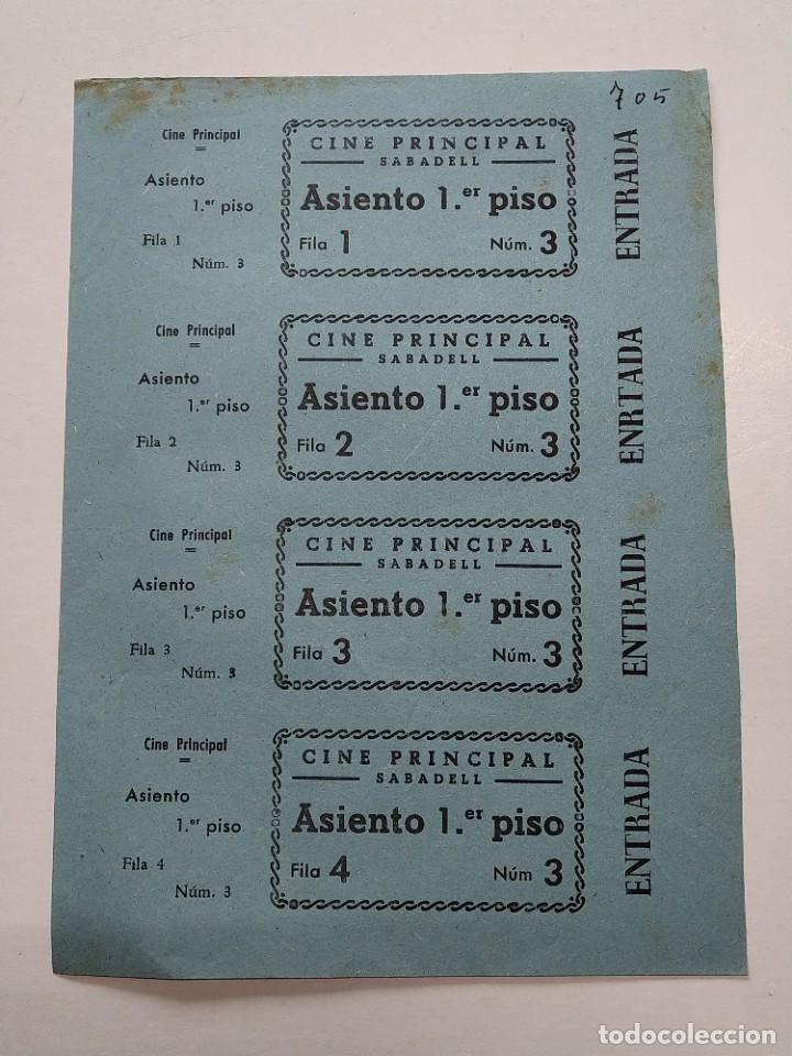 4 ENTRADAS CINE PRINCIPAL - SABADELL (BARCELONA) - AÑOS 40, HOJA SIN CORTAR...L3678 (Cine - Entradas)