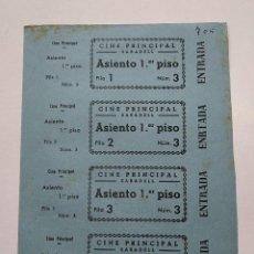 Cine: 4 ENTRADAS CINE PRINCIPAL - SABADELL (BARCELONA) - AÑOS 40, HOJA SIN CORTAR...L3678. Lote 248971205
