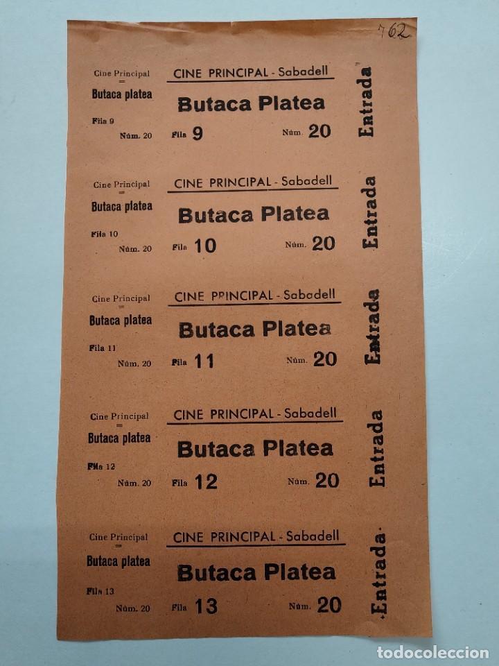 5 ENTRADAS CINE PRINCIPAL - SABADELL (BARCELONA) - AÑOS 40, HOJA SIN CORTAR...L3679 (Cine - Entradas)