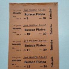Cine: 5 ENTRADAS CINE PRINCIPAL - SABADELL (BARCELONA) - AÑOS 40, HOJA SIN CORTAR...L3679. Lote 248971980