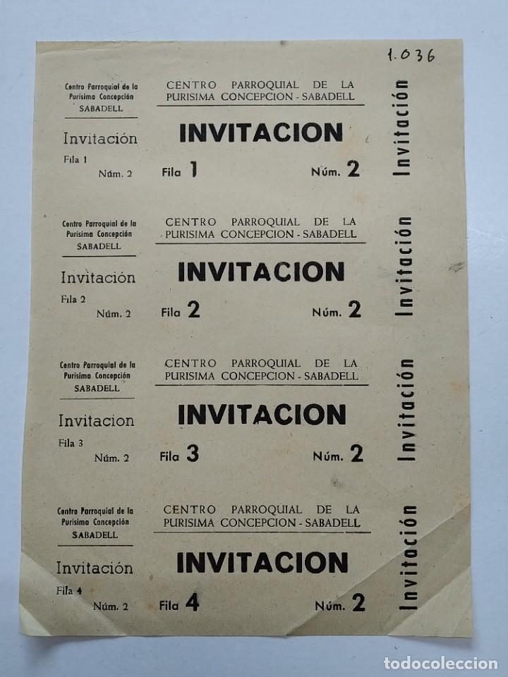 4 INVITACIONES - CENTRO PARROQUIAL PURISIMA CONCEPCION - SABADELL - AÑOS 40, HOJA SIN CORTAR...L3680 (Cine - Entradas)