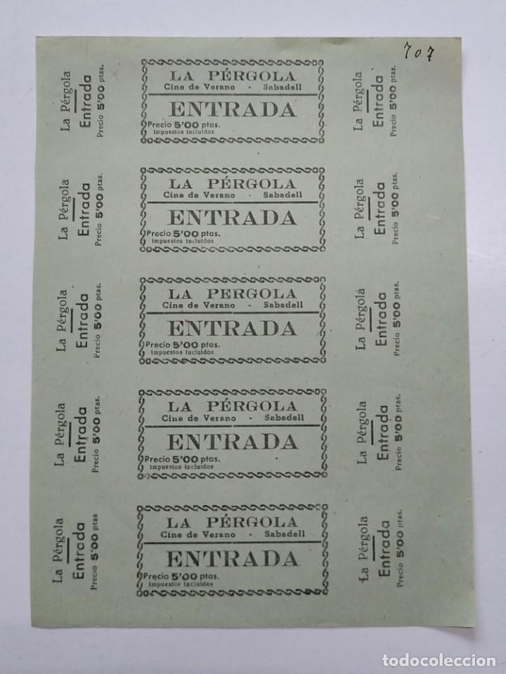 5 ENTRADAS CINE DE VERANO - LA PERGOLA - SABADELL (BARCELONA) - AÑOS 40, HOJA SIN CORTAR...L3682 (Cine - Entradas)