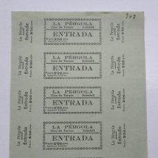 Cine: 5 ENTRADAS CINE DE VERANO - LA PERGOLA - SABADELL (BARCELONA) - AÑOS 40, HOJA SIN CORTAR...L3682. Lote 248973960