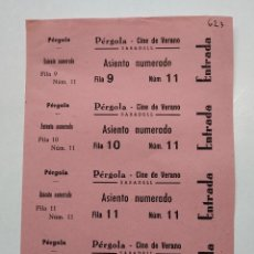 Cine: 4 ENTRADAS CINE DE VERANO - PERGOLA - SABADELL (BARCELONA) - AÑOS 40, HOJA SIN CORTAR...L3683. Lote 248974375