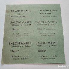 Cine: TICKETS VALE - SALON MARFIL - VILLANUEVA Y GELTRÚ (BARCELONA) - AÑOS 40, HOJA SIN CORTAR...L3684. Lote 248975060