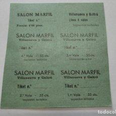 Cine: TICKETS VALE - SALON MARFIL - VILLANUEVA Y GELTRÚ (BARCELONA) - AÑOS 40, HOJA SIN CORTAR...L3685. Lote 248975345