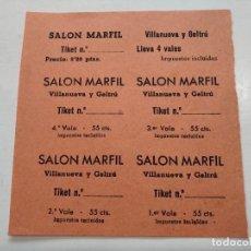Cine: TICKETS VALE - SALON MARFIL - VILLANUEVA Y GELTRÚ (BARCELONA) - AÑOS 40, HOJA SIN CORTAR...L3688. Lote 248976140